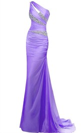 Floor-Length Asymmetrical Sequined Long Single-Shoulder Column Dress