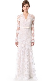 Long Sheath Long-Sleeves Unique Lace Low-V Gown