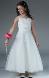 Ankle-Length Crystal A-Line Embroidered Flower Girl Dress