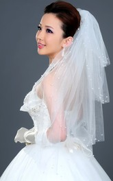 Multi-Layered Puffy Elbow Wedding Veil with Pearl Beading