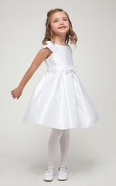 Cap-Sleeve Bowknot Short-Midi Satin Flower Girl Dress