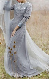 Jewel-Neck Long Sleeve Tulle Floor-length Dress With Beading