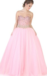 blushing Sweetheart A-line Ball Gown With Beading And Corset Back