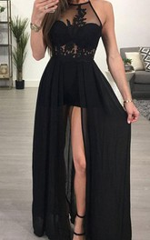 Halter Chiffon Sleeveless Floor-length A Line Evening Dress with Lace