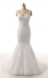 Lace Beaded Backless Trumpet Wedding Dress