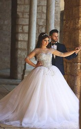 Tulle Beaded Princess Ball-Gown Illusion Glamorous Dress