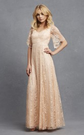 Romantic A-Line Lace V-Neck Dress With Bell Sleeves