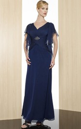 V-Neckline Low-V Back Formal Ruched Ankle-Length Sheath Chiffon Gown