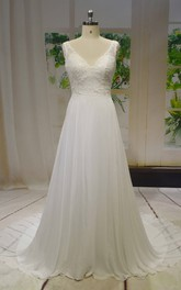 V-neck Sleeveless Chiffon A-line Wedding Dress With Lace Top And V-back Buttons
