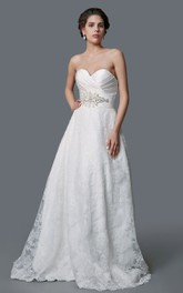 Backless Lace Sweetheart Gorgeous Princess Satin Ball Gown