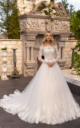 Off-the-shoulder Illusion Long Sleeve Ballgown Lace Tulle Wedding Dress With Sash And Button Back