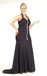 Haltered Ruched long plus size Dress With Beading And Sweep Train