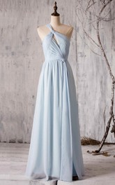 A-Line Front-Slit Floor-Length Pleated One-Shoulder Chiffon Gown