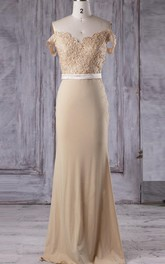 Off-the-shoulder Sheath Jersey Dress With Appliques And Illusion Split Back