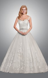 Bateau Cap-sleeve A-line Ball Gown Tulle Wedding Dress With Beading And Appliques