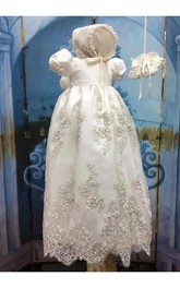 Cute Puff Sleeve Christening Gown With Lace Appliques