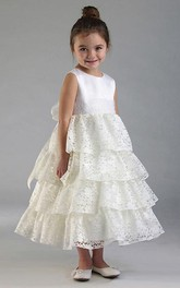 Sequined Lace 3-4-Length Flower Girl Dress