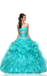 Sweetheart Ruffled Lace-Up Back Strapless A-Line Organza Sleeveless Cascading Ball Gown