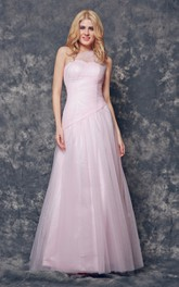 Noble One Shoulder A-line Long Tulle Dress With Pleats