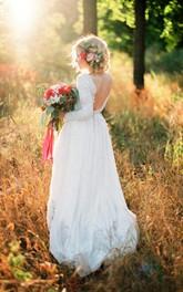 Lace Bodice Bridal Chiffon Romantic A-Line Dress