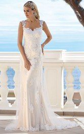 Queen Anne Sheath Lace Appliqued Tulle Wedding Dress With Low-V Back And Sweep Train