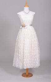 vintage Cap-sleeve Tea-length Lace Dress With Flower