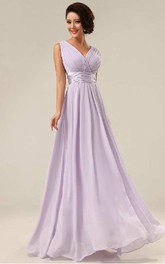 A-line Floor-length V-neck Sleeveless Chiffon Dress with Pleats