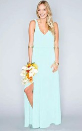 Sheath V-neck Chiffon Beach Floor-length Sleeveless Natural Waist Deep-V Back Dress