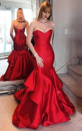 Mermaid Satin Sweetheart Sleeveless Floor-length Sweep Train Formal Dress With Ruffles