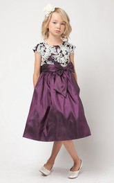 Embroidery Taffeta Bowknot Flower Girl Dress