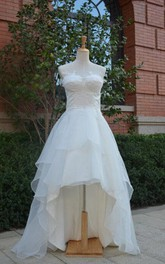 Chiffon Ruffled Layers Lace-Up-Back Sweetheart Dress