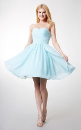 Sleeveless Ruched Top Sweetheart Charming Chiffon Gown