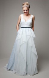 Long Satin Sash Ruffles Sleeveless V-Neckline Bridal Dress