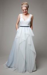 Long Satin Sash Ruffles Sleeveless V-Neckline Bridal Dress