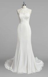 Chiffon Lace Bodice Mermaid Jewel-Neckline Wedding Gown