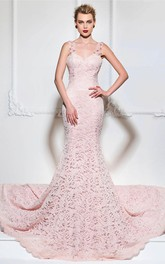 Lace Mermaid Floral Appliqued Gown With Straps And Open Back