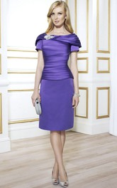 Short-Sleeve Broach Scoop-Neckline Midi-Length Mother Of The Bride