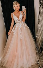 Plunging Neckline Straps Tulle Sleeveless Floor-length Brush Train Formal Dress