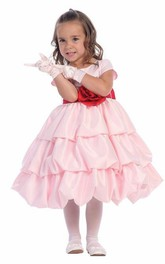 Cap-Sleeve Tiered 3-4-Length Satin Flower Girl Dress