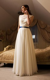 Bridal Chiffon Skirt Sleeveless Jewel-Neckline Dress