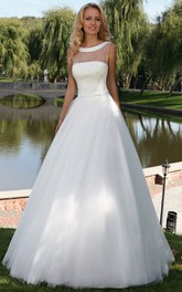 Scoop-neck Sleeveless Tulle A-line Ball Gown With Corset Back