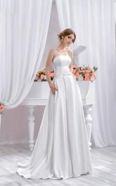 A-Silhouette Train White Floor-Length Gown