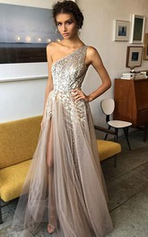 One-shoulder Tulle Sequins Sleeveless Floor-length Beading Pleats Split Front Dress
