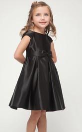 Bowknot Cap-Sleeve Short-Midi Satin Flower Girl Dress