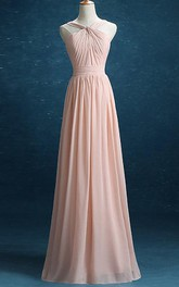 Haltered Chiffon A-line Floor-length Dress With Pleats