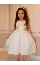 Ankle-Length H Made Flower Belt Jewel-Neckline Sleeveless Gown