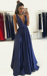 V-neck Taffeta Sleeveless Floor-length Pleats Dress