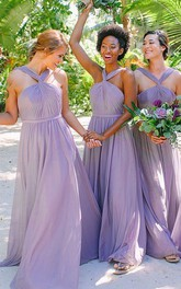 Halter Chiffon Sleeveless Floor-length A Line Bridesmaid Dress with Pleats and Ruching