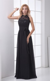 Sleeveless Bow Lace High-Neckline Floor-Length Gown