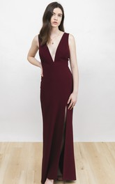Sexy Plunging Neckline Sleeveless Burgundy Dress With Front Split And Deep V-back